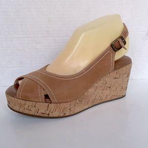 CORDANI cork wedge heel sandals tan